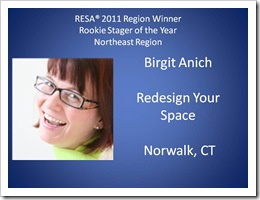 Birgit Anich Rookie Stager 2011 | RESA Convention 2011–What a Great Experience this was - Rookie-Stager-of-the-Year-Northeast